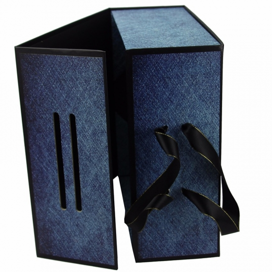 Unique denim pattern with ribbon rope handle folding box