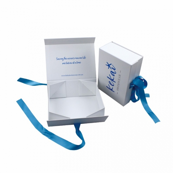 Custom sweet foldable carton flat pack boxes with ribbon closure