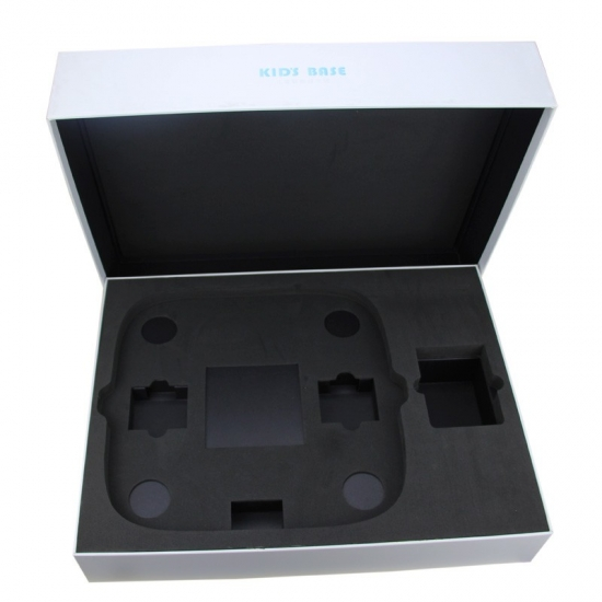 white paper boxes with lids and black padding