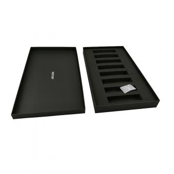 Custom rigid black gift box with lid and divider EVA padding