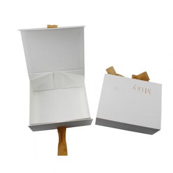 White Folded Storage Cloth Box With Ribbon